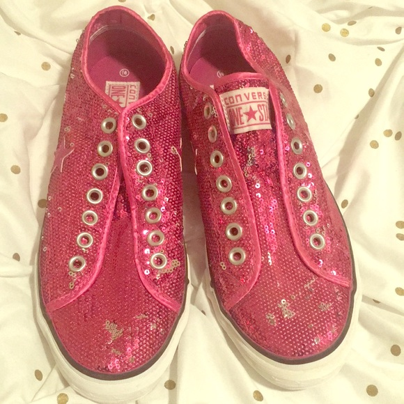 be35eb4ff462 Converse Shoes - Pink Sequin One Star Slip On Converse Shoes
